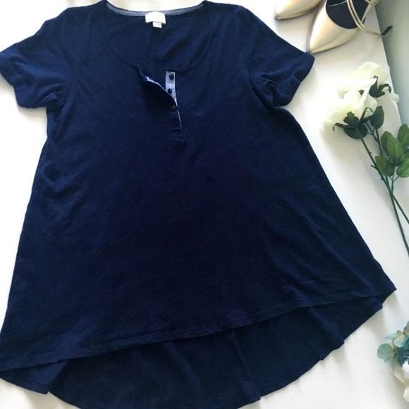 Anthropologie Postmark Blue Henley Tunic T-shirt